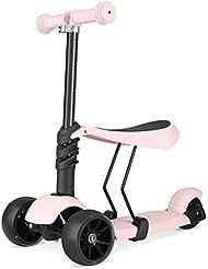 Bamny Kinderroller Kickboard mit verbreiteren Rollen und abnehmbarem Sitz, Kinderscooter Laufrad 2 in 1 höchenverstellbar Lenker und Leuchtrollen, Tretroller 3 Räder für Babys und Kinder 1 – 5 Jahre