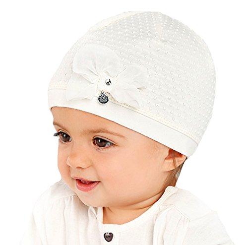 Marika Elegante Baby Mädchen Mütze Taufe Festlich Schleife Baumwolle Vanille Creme Größe 44