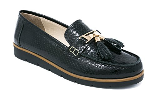 BOBERCK Thea Collection Women's Snake Print Leather Loafer / Moccasin / Oxford (9 US, Black) (Snake Print Cross)