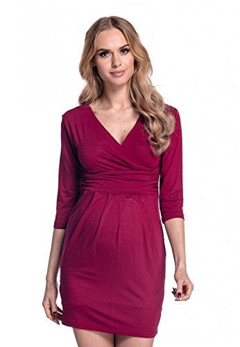 Happy mama. donna. abito elasticizzato prémaman elegante vestito con tasca. 236p (cremisi, it 46, xl)