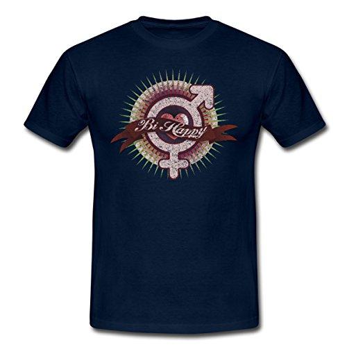 Spreadshirt BI Happy Bisexualität Männer T-Shirt, XXL, Navy