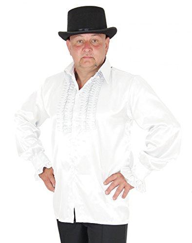 Foxxeo 40193 | Rüschenhemd weiß für Herren weisses Hippie Hemd 70er 80er Kostüm Gr. S - XXL, Größe:L (80er Jahre Kostüme-film)