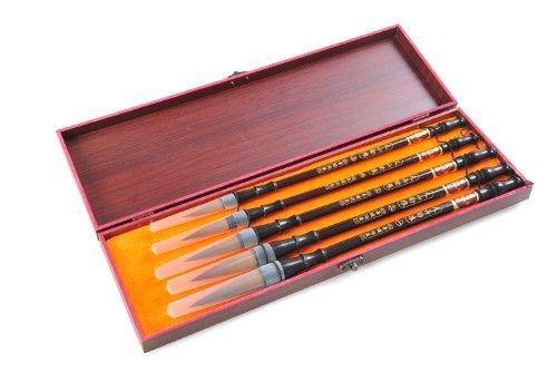 Quantum Abacus Calligrafica Pro: 5 pinceles profesionales de caligrafía para expertos en caligrafía china o japonesa, en elegante caja de regalo 15cm x 11cm x 3,5cm, Mod. H-CGB-S5-01