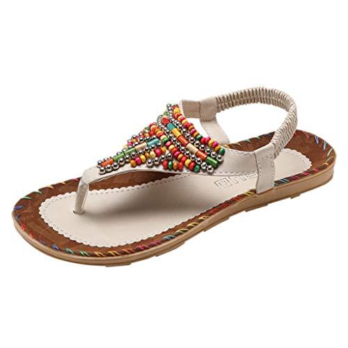 MakefortuneFrauen Sommer Niedrige Flache Ferse Flip Flop Sandalen Clip Auf Post Thong Boho Schuhe Perle Folk Strand Schuh mit Gummiband