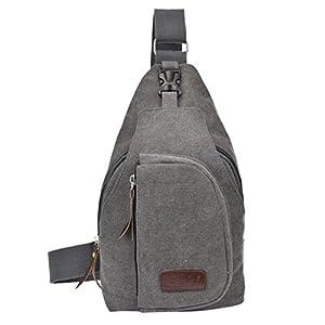 TOOGOO Negro caliente casual unisex bolsa de lona en el pecho de multiples funciones senderismo al aire libre deportes gran bolsa de mensajero bolsa de hombro mochila billetera