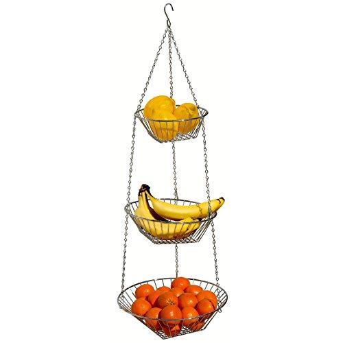Taylor & Braun, Aufhängen-Korb für Obst/Gemüse auf 3 Etagen, aus Chrom