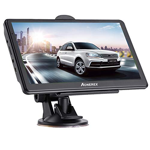 Aonerex Navigationsgerät 7 Zoll Touchscreen GPS Navi Navigation Navigationssystem Mehrsprachig für Auto LKW PKW KFZ 8GB/256MB Lebenslang Kostenloses Kartenupdate 52 Karten für Europa UK