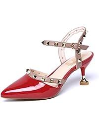GAOLIM Mujeres Zapatos De Tacón Alto Zapatos De Mujer Verano Remaches De Punta Fina Con Hembra Sandalias De Tacón...