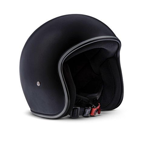 Rebel · R2 Matt Black (Schwarz) · Jet-Helm · Roller Retro Mofa Scooter-Helm Chopper Motorrad-Helm · Fiberglass · Extra small Shell · Click-n-SecureTM Clip · Tragetasche · M (57-58cm)