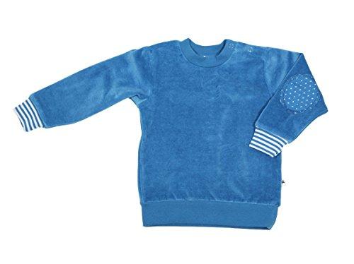 Baby Kinder Nicky Sweatshirt 100% Bio-Baumwolle GOTS Jungen Mädchen Langarmshirt T-Shirt Gr. 62/68 bis 140 (86/92, blau (Saphir))