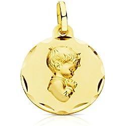 OROCORDOBA Medalla Bebé/Niño Oro Amarillo 18 ktes Tamaño 16 mm Niño Jesús Maciza