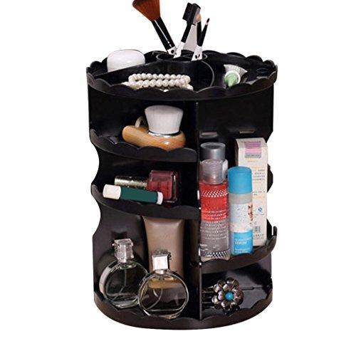 Rangement de Maquillage, Sensail Organisateur de Cosmétiques Rotatif à 360° avec Étagère en Plastique Boîte de Ranger de Beauté, Maquillages, Parfums, Bijoux etc pour Salle de Bain (Une taille, Noir)