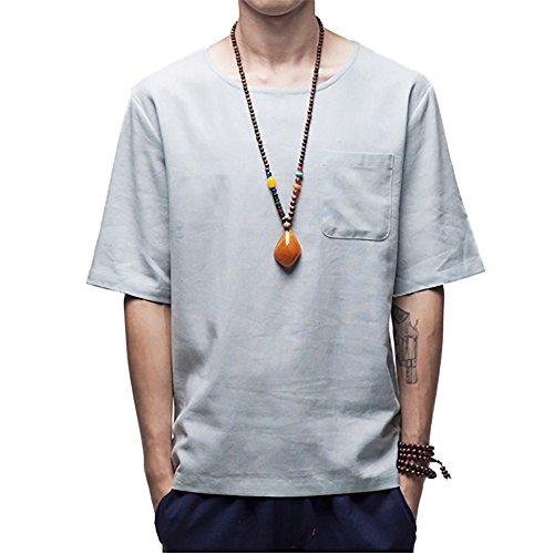 Honghu Herren Brusttasche Kurze Ärmel T-shirt Blau