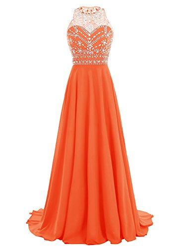 Bbonlinedress Robe de cérémonie Robe de soirée emperlée longueur ras du sol Orange
