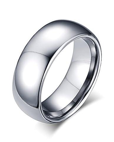 Vnox 8mm Männer hoch polnischen Wolfram Hartmetall Comfort Fit gewölbten Hochzeit Band Ring Schmuck,Silber