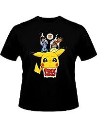 T-Shirt Free Hugs - Parodie Pikachu de Pokemon - Pika Free Hugs :) - T-shirt Homme Noir - Haute Qualité