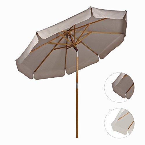 Sekey® Ombrellone in Legno Ombrello Parasole da Esterno da Giardino Ø 270 cm Protezione solare UV50+ Taupe