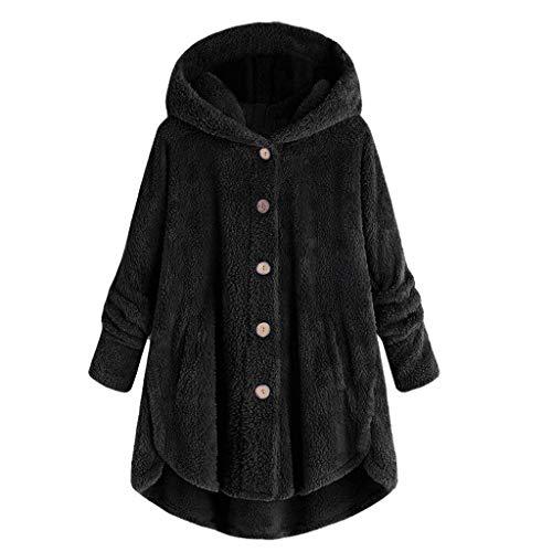 Elvis Jacke (Crazboy Mode Damen Herbst Winter Mit Kapuze Knopf Sweatshirt Mantel Flauschige Schwanz Tops Pullover Lose Sweatshirt Mäntel(XX-Large,Schwarz-B))