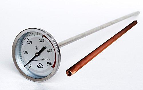 Pirómetro Profesional Extra-largo para horno, 50cm, con VAINA de protección de COBRE,...