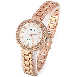 i.VALUX Crystal Diamond Watch Women' Ladies' Girl' Wrist Watch, Rose Gold