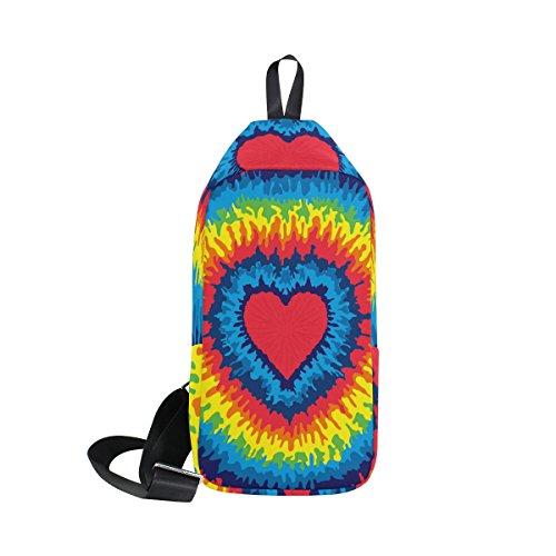 COOSUN Tie Dye Sling Bag Schulter Brust Kreuz Körper Rucksack Leicht Casual Tagesrucksack für Männer Frauen M MultiColor#005 (Tie-dye-sling)