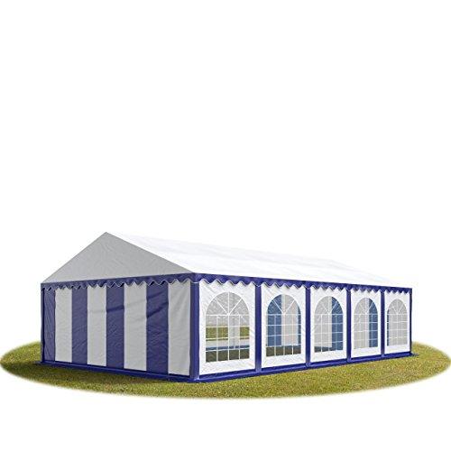TOOLPORT Tente Barnum de Réception 5x10 m Premium Bâches Amovibles PVC 500 g/m² Bleu-Blanc + Cadre de Sol Jardin INTENT24