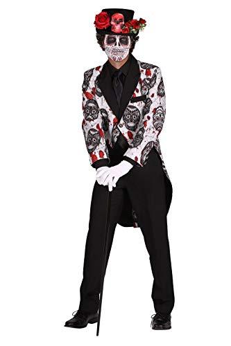 Der Toten Kostüm Mexiko Tag - Tag der Toten Kostüm Herren 1-Teilig Frack gefüttert I Mexikanisches Halloweenkostüm Bunt mit Totenköpfen I Day of The Death Dia de los Muertos I Schwarz Weiß XXL