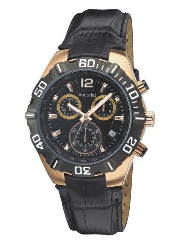 Accurist MS837B - Reloj de cuarzo para hombres, correa de cuero, color negro