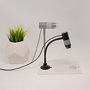 Plugable USB 2.0 Digital Microscope with Flexible Arm Observation Stand for Windows, Mac, Linux (2MP, 250x Magnification)
