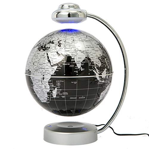 Magnetschwebebahn Floating World Map Globe, drehende Erdkugel Ball Anti Schwerkraft LED Licht Lampe-pädagogische Geschenke für Kinder, Home Office Schreibtisch Dekoration,Black