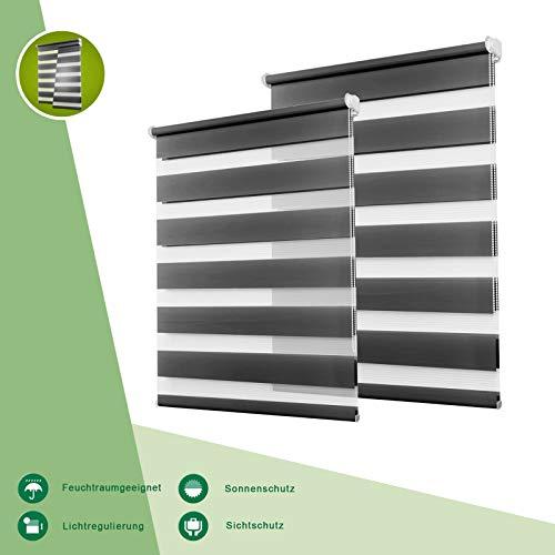 OUBO Doppelrollo Klemmfix Duo Rollo ohne Bohren Seitenzugrollo mit Klemmträger für Fenster/Tür