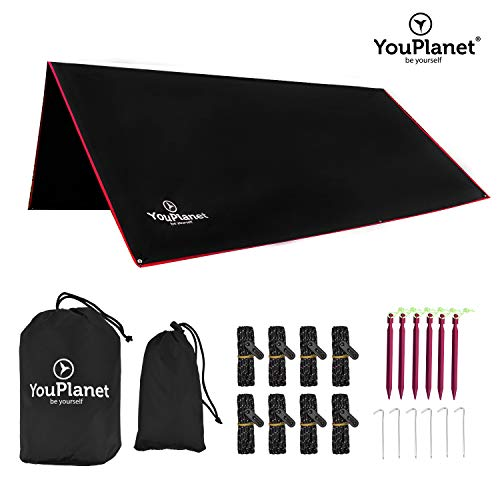 YouPlanet® Premium Tarp | Hochwertiges Ripstop Polyester | extrem reißfest - Wasserdicht | Outdoor Zelt 3x3m - Sonnenschutz - Regenschutz - Picknickdecke - Zeltplane - Camping Shelter - Hammock