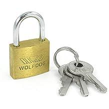 Candado de laton - WOLFDOG candado de laton bloqueo de puerta de seguridad de anchura de 20mm de mini tamano con 3 llaves