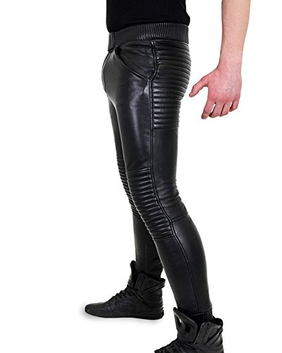 Bockle® Baby Biker Joggers schwarze Herren Jogging Lamm Lederhose Schwarz
