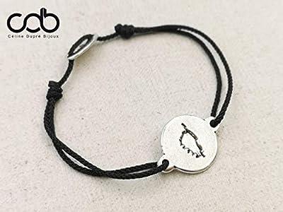 """Bracelet cordon tressé""""Corse"""" ø18mm finition argent 925"""
