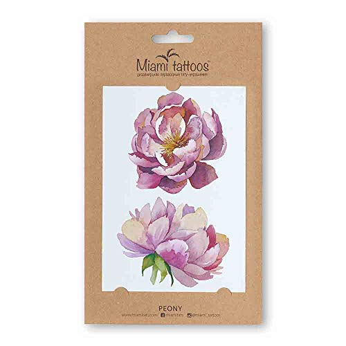 Miami tattoos watercolor collection, tatuaggi temporanei, 1 foglio, 10 x 15 cm (peony)