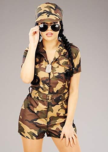 Kostüm Damen Army Girl - Magic Box Int. Camouflage Army Girl Kostüm für Damen XS (UK6-8)