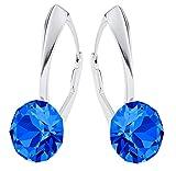 Crystals & Stones *XIRIUS* Silber 925 *Viele Farben* - Ohrringe mit Kristallen von Swarovski® - Schön Ohrringe Damen Ohrhänger - Wunderbare Ohrringe mit Schmuckbox (Capri Blue)