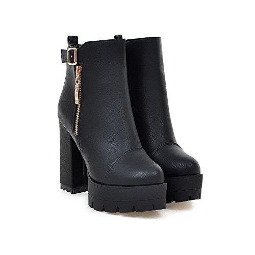 VogueZone009 Donna Cerniera Tacco Alto Puro Bassa Altezza Stivali con Metallo Nero