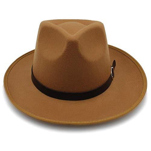 Hut-Mode Unisex Womem Männer Klassische Wide Brim Sun Feodora Panama Cap (Farbe: Khaki, Größe: 56-58CM)
