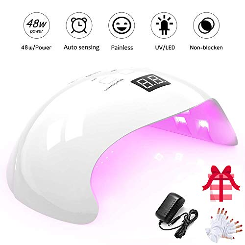 Lámpara UV Profesional, 48W Lampara Led Uñas Profesional con temporizador, Sensor para uñas de gel...