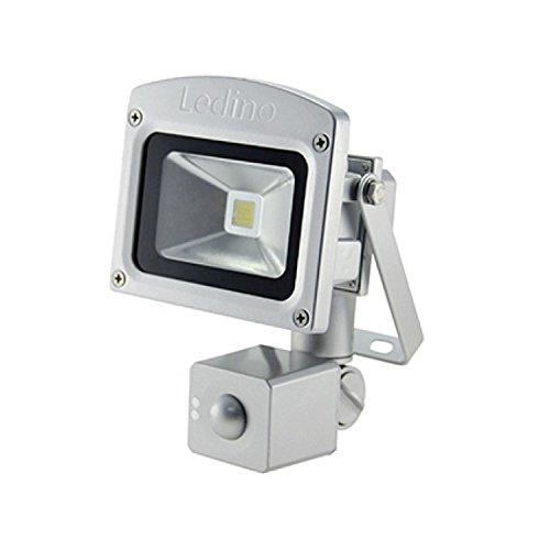 Ledino LED-Flutlichtstrahler, HF-Sensor, 10 Watt Epistar-LED, Silber Warmweiß