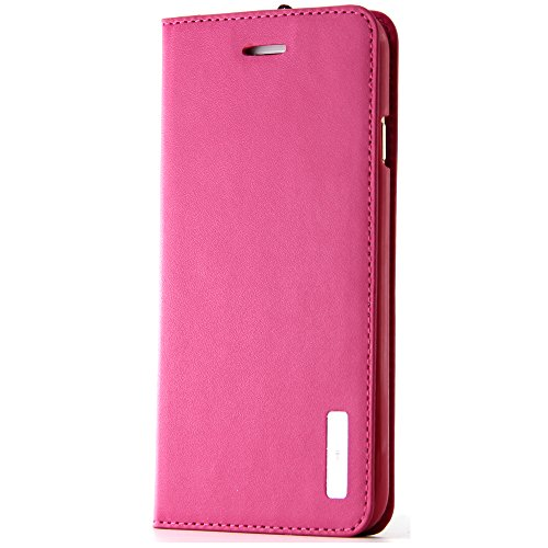 BELK iPhone 6 Hülle (11.94 cm) -Sleek Snag Premium ECHT Leder Flip Case Schutzhülle mit Ständer und Display-Schutzfolie), Schwarz Pink - 6s - Rose-6