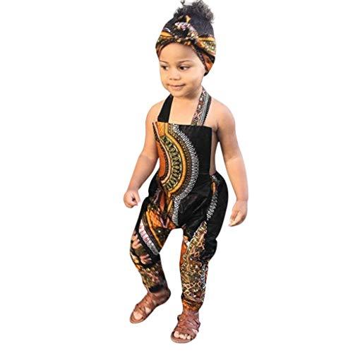 LSAltd Mode Kleinkind Kind Baby Mädchen Klassische Vintage Ethnischen Stil Gedruckt Ärmellos Lässig Baumwolle Neckholder Strampler Overall + Haarband Outfit (Ethnischen Kostüm Für Mädchen)