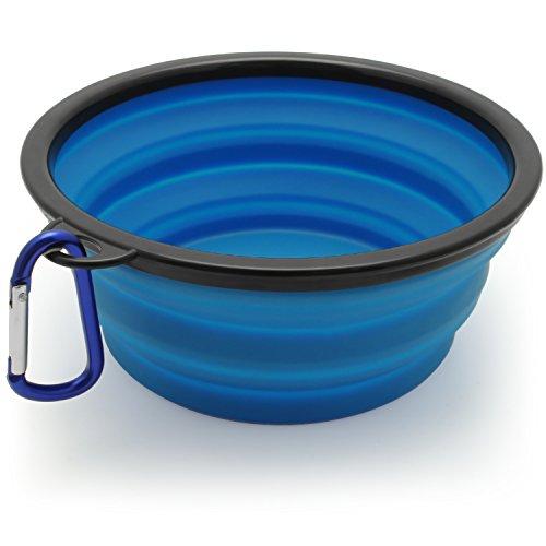 igadgitz Home Plegable Silicona Comedero para Perro Portatíl Alimentos Agua Viajes Plato para Mascota - Azul
