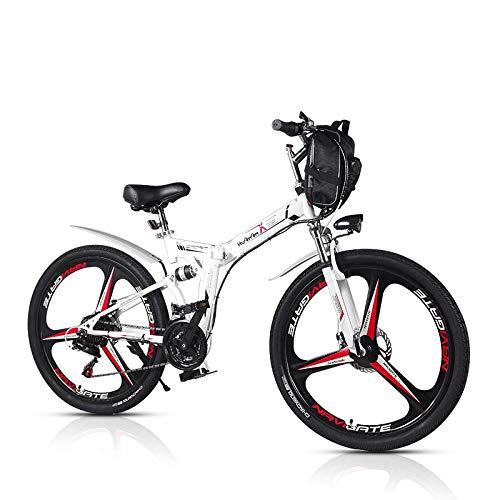 SYLTL Elektrofahrrad 26Zoll E- Bike Mountainbike 48V 8AH Lithium Batterie Abnehmbarer 21 Gang Getriebe Faltbares E-Bike,Weiß,45km