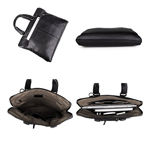 Everdoss Hommes sac à main en cuir véritable sac de messager sac à bandoulière sac d'épaule sac d'ordinateur sac de business Mallette noir
