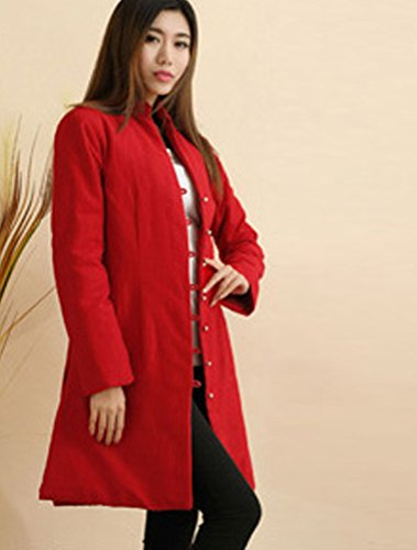 MatchLife Femme Neu Argent Buton Coton Padded Manteau avec Poches Rouge