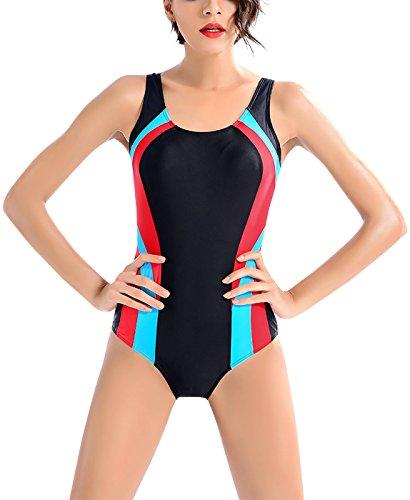 Brandman Damen Sportlicher Badeanzug Schwimmanzug mit Push Up Brustpolster  Einteilige Swimwear Bademode Größe XL - Schwarz d18520ff7f