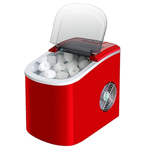 LIQICAI Portátil maquina hielo Mesa Rinde 15 Kg de hielo por 24 horas Cubitos de hielo listos en 6-13 minutos Eléctrico maquina de hacer hielo Ice Scoop cubito hielo Almacenamiento (Color : Red)